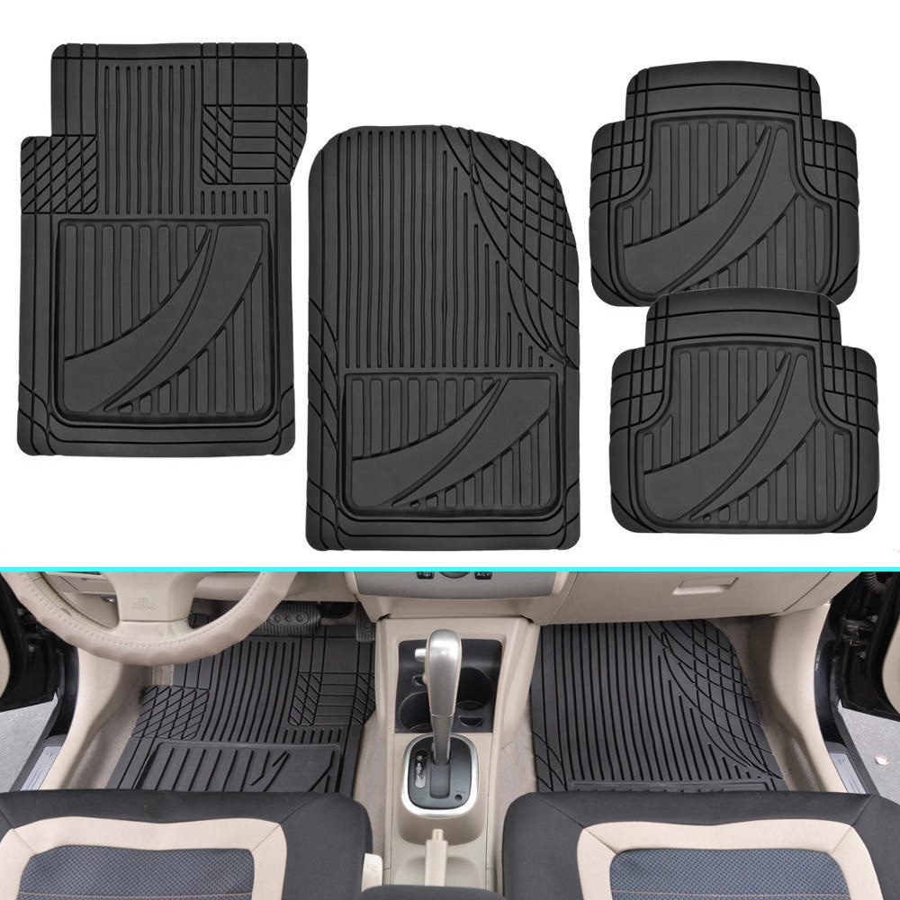 Waterproof Carpet Floor Mats Plane-Universal PVC Rubber Automobile Carpet Cover Car Interior Accessories Protector 4pcs floor