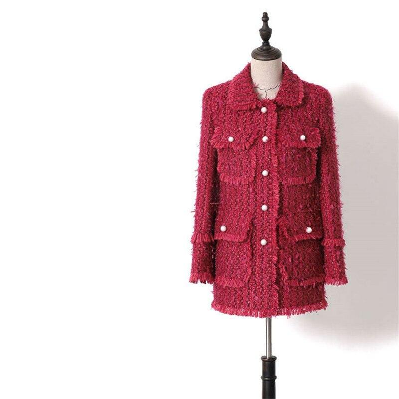 Kadın Giyim'ten Blazerler'de El yapımı Lüks Blazer Takım Elbise Kadın Moda Hepburn Tüvit Peter Pan Yaka Tek Göğüslü Püskül Uzun Blazers Ceket Kırmızı'da  Grup 1