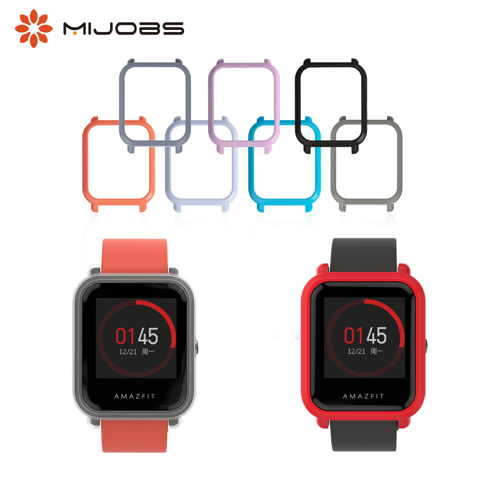 Mijobs Case Cover PC Bumper Protector For Xiaomi Huami Amazfit Bip BIT Lite Youth Accessories Wrist Straps Watch Band Smartwatch