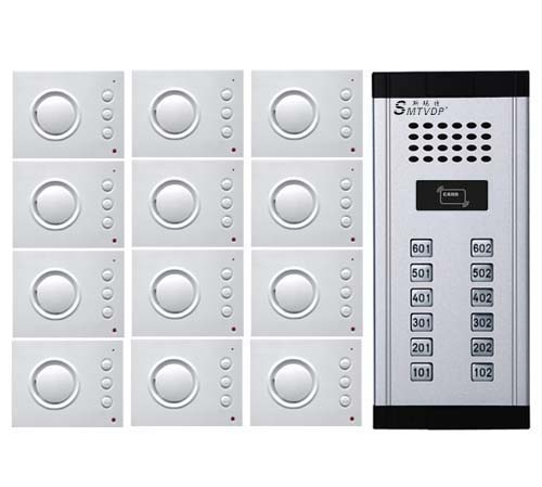 SMTVDP Intercom System Audio Door Phone for 12 apartments, 4-wired Audio Doorphone With Hand-free Indoor Units ,ID Card Unlock