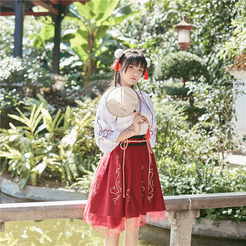 Summer Woman Japanese Traditional Dress Embroidery Ancient Fashion Kimono Girls Japanese Style Clothes Outfits Lace Up Skirt 7