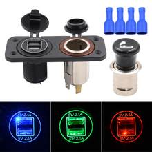 240W 5V 4.2A Center Console Dual USB Aperture Vehicle Mobile Phone Car Chargers with Metal Cigar Lighter(China)