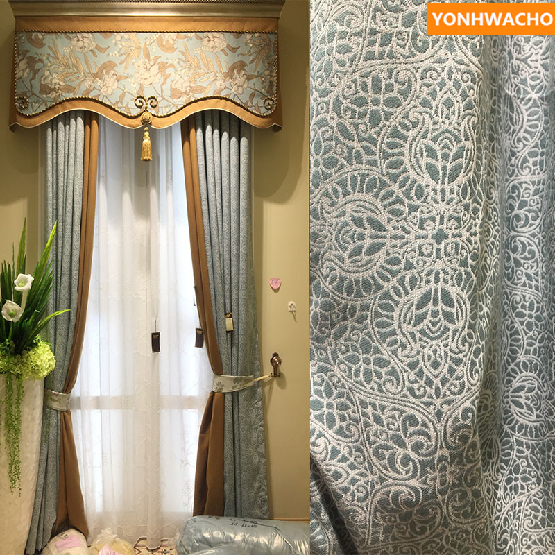 Custom curtains Modern American pastoral living room bedroom  warm romantic blue cloth blackout curtain tulle valance drape B126Custom curtains Modern American pastoral living room bedroom  warm romantic blue cloth blackout curtain tulle valance drape B126