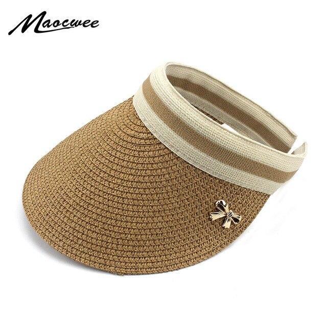 Woman Sun hats big brim foldable bowknot hand made straw paper Visor female  casual shade hat summer Empty top hat beach cap 7836323574a