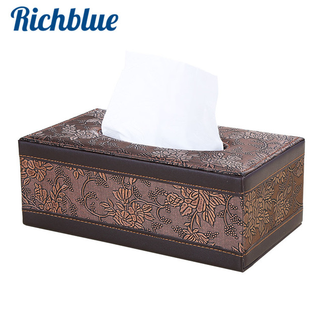Tissue Box PU Leather Home Office Use Paper Tissue Organizer Vintage Floral  Rectangle Tissue Holder Desk