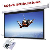 DHL Быстрая доставка Большой кинотеатр моторизованный проекционный экран 120 дюймов 16:9 матовый белый 3D проектор электрический экран с пульто