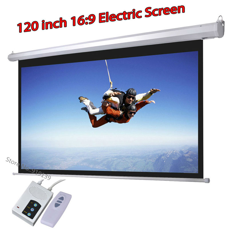 DHL Fast Shipping Big Cinema Motorized Projection Screen 120 Inch 16:9 Matt White 3D Projector Electric Screen With Remote fast free shipping 100 4 3 tripod portable projection screen hd floor stand bracket projector screen matt white factory supply