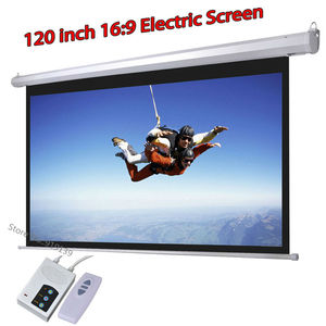 Image 1 - DHL Fast Shipping Big Cinema Motorized Projection Screen 120 Inch 16:9 Matt White 3D Projector Electric Screen With Remote