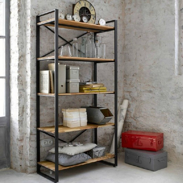 Seven european retro iron wood storage shelves shelf for Fabriquer verriere metal