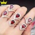 Natural garnet gem anel genuine sólido 925 sterling silver red stone Mulheres jóias ZHHIRY
