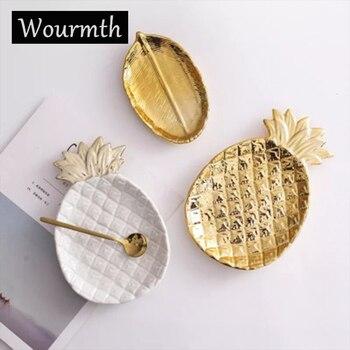 279c221d89a6 Wourmth hojas de estilo nórdico con forma de astas de piña bandeja de  cerámica plato de bocadillos organizador de joyería bandeja de ...