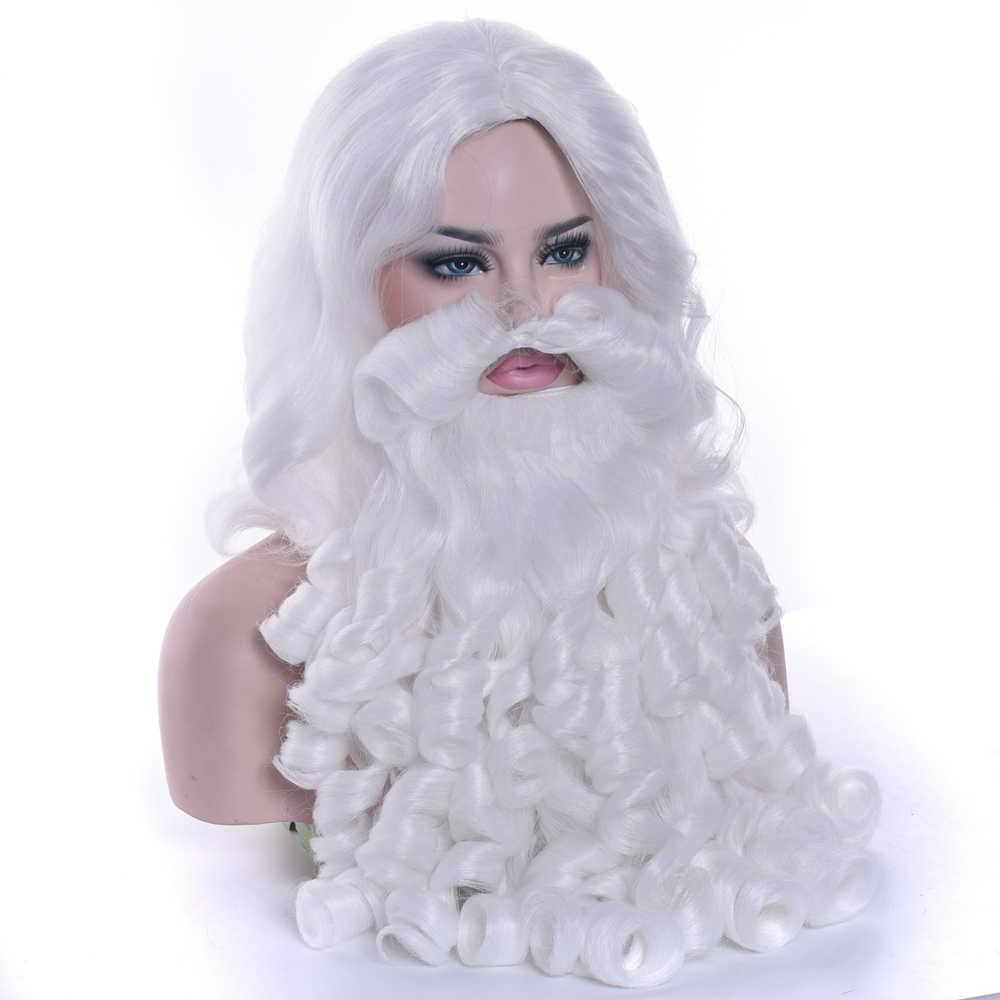 Soowee Рождественский подарок парик Санта Клауса и бороды синтетические волосы короткие косплей парики для мужчин белые аксуссуары для париков
