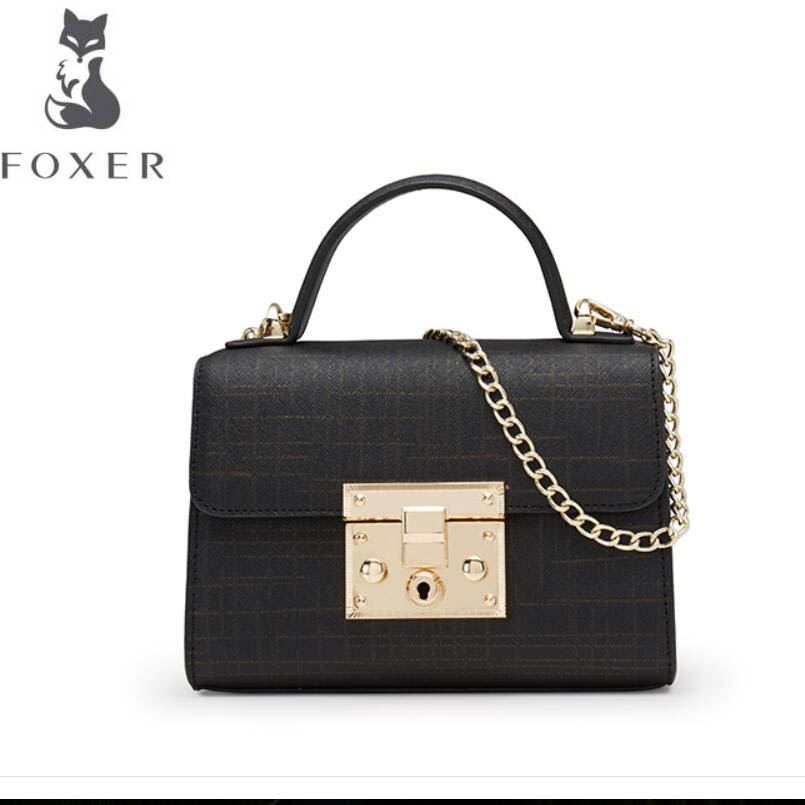 купить FOXER New quality women leather handbags women famous brands designer chain small bag fashion bag tote women leather handbags по цене 4974.7 рублей