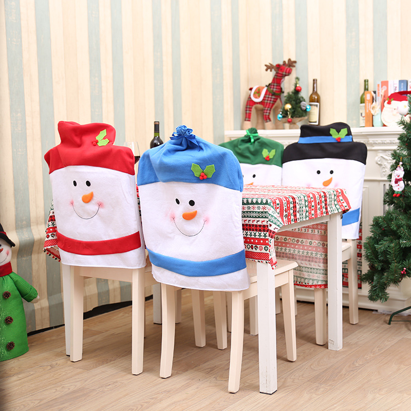 NEW Snowman Fashion Christmas Ski Chair Covers Decoration Supplies For Dining Table Home Party Wholesale