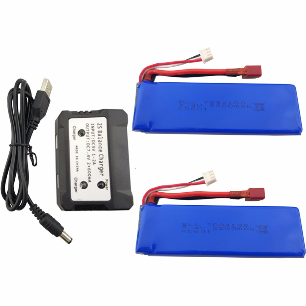 2PCS 7.4V 2200mah lithium battery with 2 in 1 charger for WLtoys K949 10428 10428 A L202 RC lithium battery high rate T plug