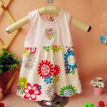 2016 Retail Baby Girls Dress Infant 100% Cotton Clothing Sleeveless Printed Dress Summer Clothes IOR-E8R5E9