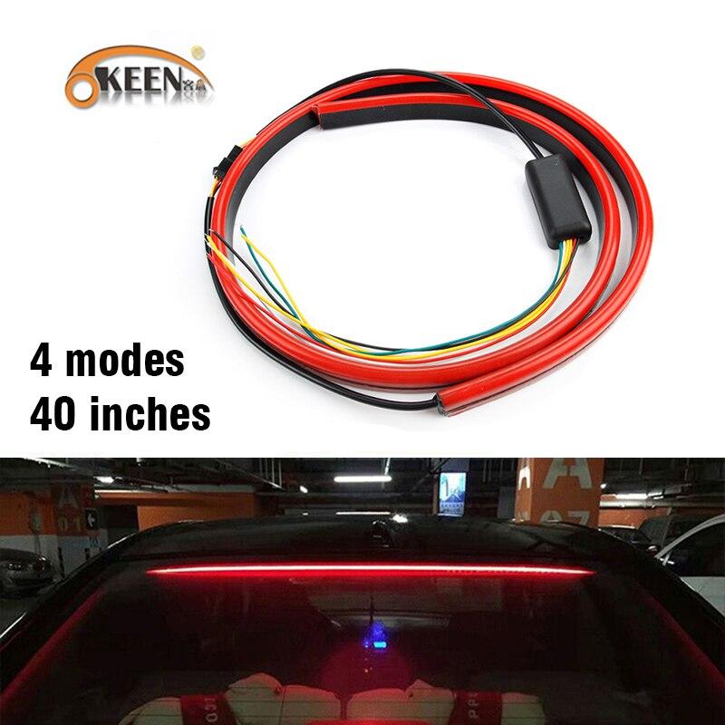 OKEEN Super Bright Car Brake Light Strip Red Flowing Flashing Car Third Brake Light Stop Lamp Waterproof LED Signal Light Strips