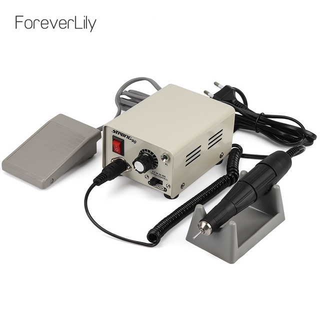 Strong 90 65W 35000RPM Professional Electric Nail Art Drill Machine Stainless Steel Pedicure Nail Polishing Manicure Machine
