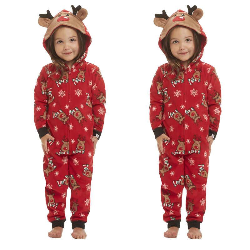 חג המולד פיג 'מה משפחת התאמת תלבושות נשים קריקטורה צבי הדפסת סרבל חג המולד הלבשת Nightwear ברדס רוכסן Romper תלבושת