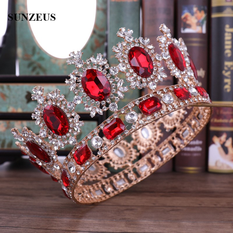 Gold Queen Crowns With Red Rhinestones Crystal Beaded Metal Bridal Tiaras Mariage Accessoire Bride Headdress SQ0339