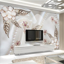 Custom wallpaper 3d solid mural pearl flower gold leaf butterfly love romantic background wall paper home decor