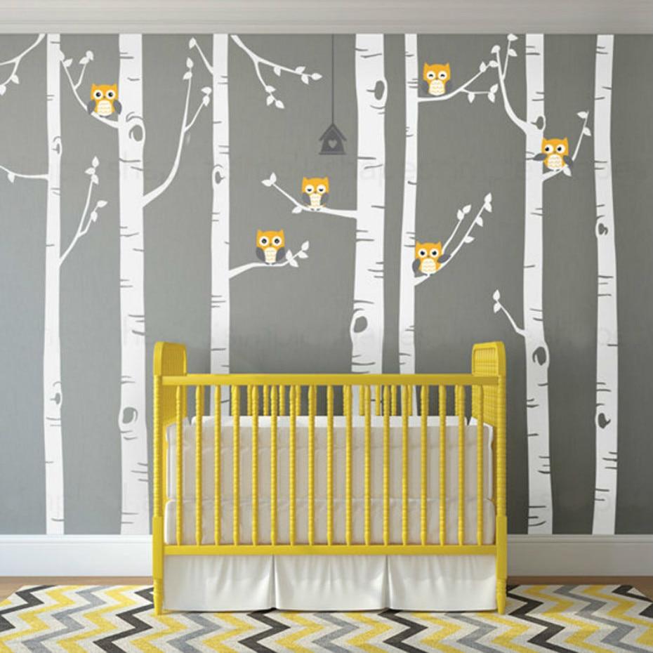 Big Birch Tree Vinyl Wall Decals Cute Owls Nature Wall Sticker ...