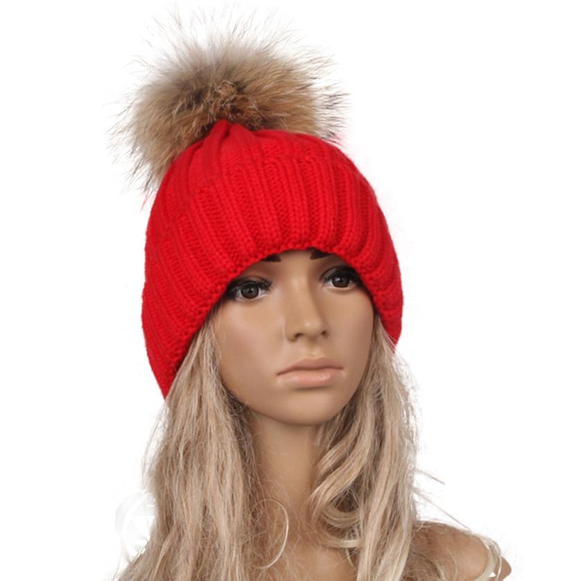 SIF 2016 Women Autumn Winter Hats Beanies Knitted wool Cap Crochet Hat Rabbit Fur Pompons Ear Protect Casual Cap Chapeu Feminino winter women beanies pompons hats warm baggy casual crochet cap knitted hat with patch wool hat capcasquette gorros de lana