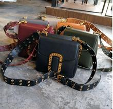 women leather winter bag metal rivet lady cross body bag shoulder box bag with metal brand