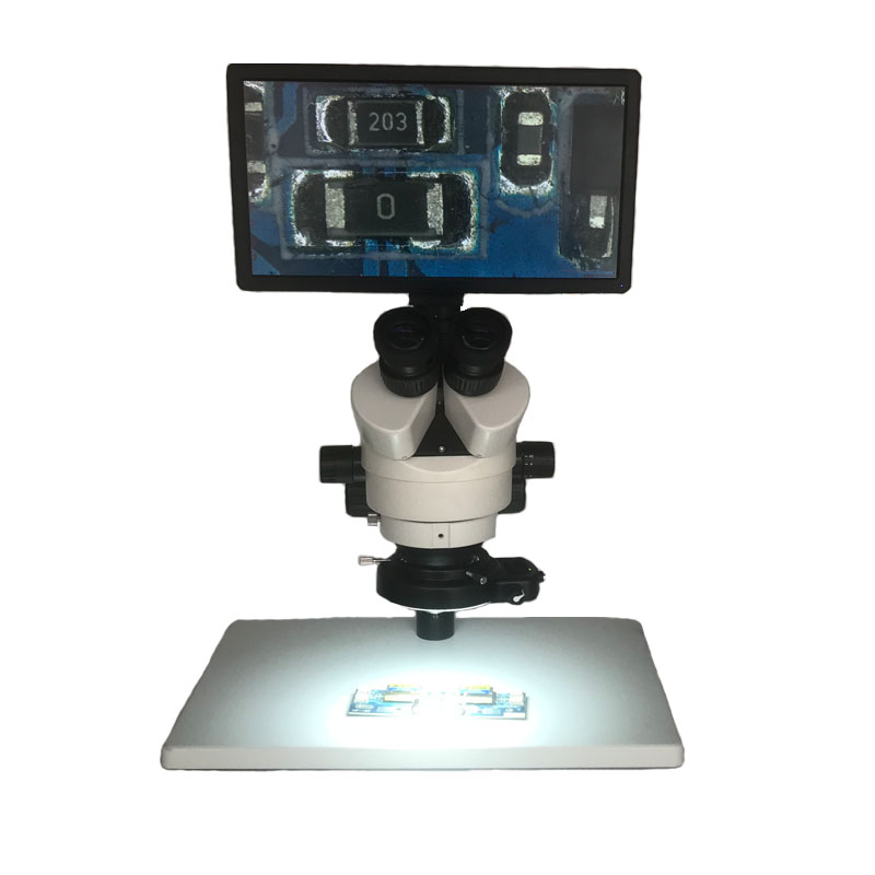 Contrôle de souris 7X-45X microscope stéréo trinoculaire + 11.6