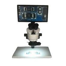 Управление мышью 7X-45X Тринокулярный стереомикроскоп + 11,6 «планшетный ПК Промышленный цифровой микроскоп с камерой + 144 светодиодных кольцевых огней