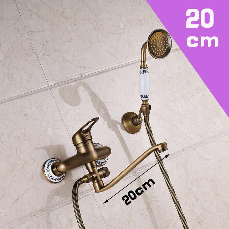 Antika Pirinç 25cm çıkış borusu Banyo Duş Musluk Duvara Monte Uzun Burun Küvet Bataryaları El Duşu ile
