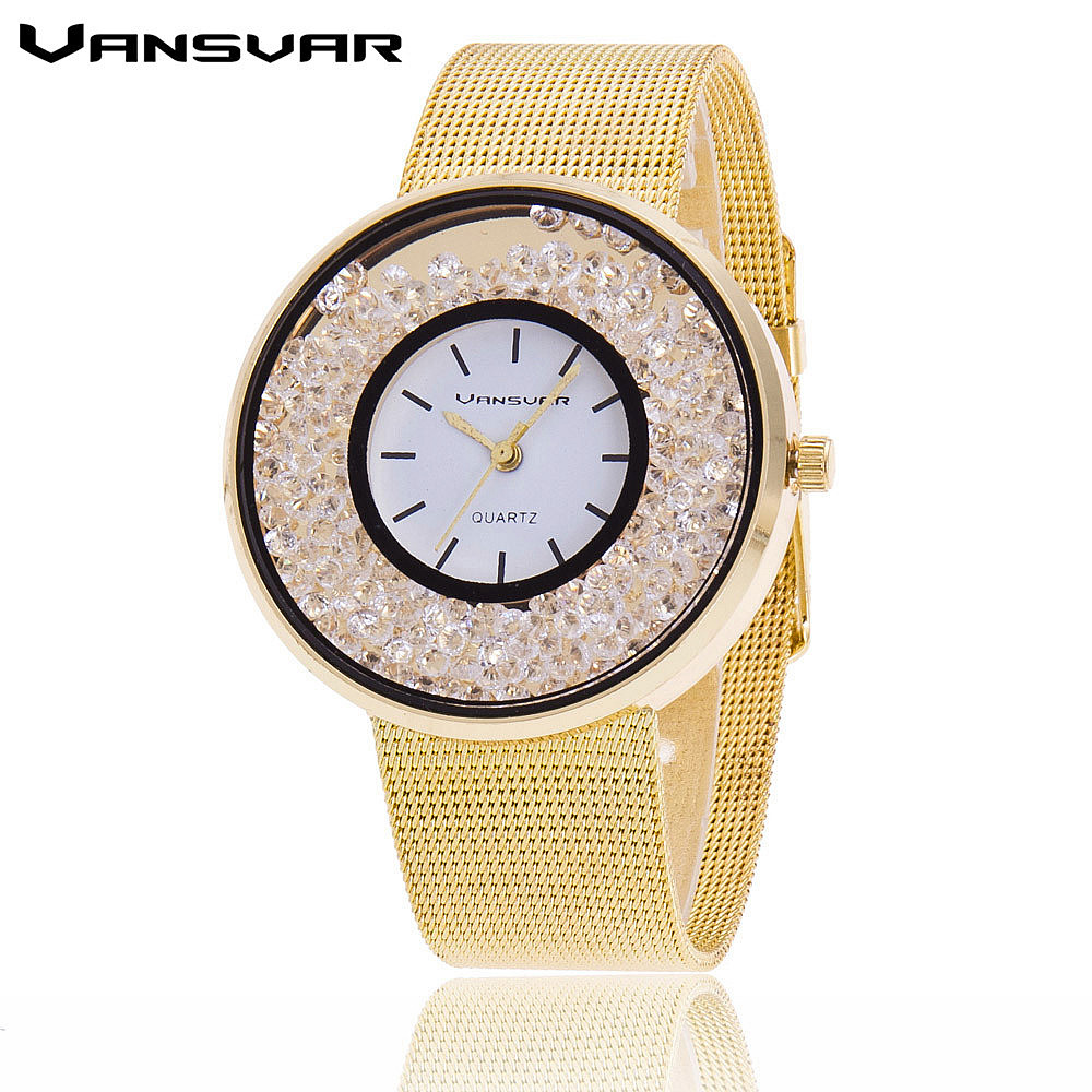 Vansvar Brand Fashion Luxury Stainless Steel Gold And Silver Band Women Wristwatch Casual Quartz Watches Relogio Feminino 1900 feitong luxury brand watches for women ladies watch full stainless steel gold mesh band wristwatch wristwatch relogio feminino