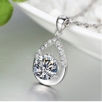 Fashion Jewelry Statement Water Drop Faith Pendant AAA Zircon Necklace White Crystal Charm Women Necklaces P219
