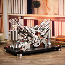 All-metal engine, V4 twin-cylinder four-cylinder Stirling engine model, generator set, micro