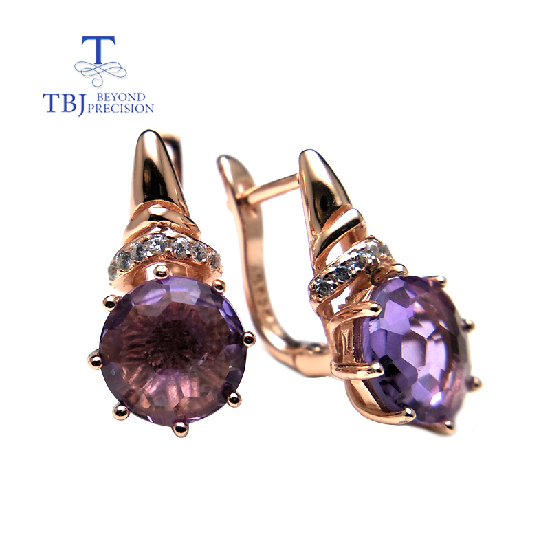 TBJ, Natural light colored amethyst football cutting round 8mm 2.15ct gemstone clasp earring 925 sterling silver rose goldTBJ, Natural light colored amethyst football cutting round 8mm 2.15ct gemstone clasp earring 925 sterling silver rose gold