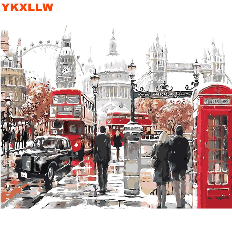 big ben uk london landscape pictures by numbers diy handpainted wall painting new gift coloring. Black Bedroom Furniture Sets. Home Design Ideas