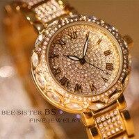 Hot Sale Famous Top Brand Luxury Watch Lady Full Austrian Crystal Stainless Steel Watch Women Luxury Diomand Bangle Bracelet