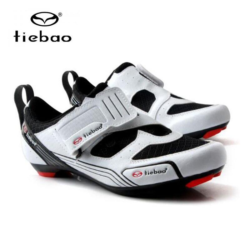 Купить с кэшбэком Tiebao cycling shoes road sapatilha ciclismo Triathlon sneakers women men breathable bicycle pedals self-locking road shoes