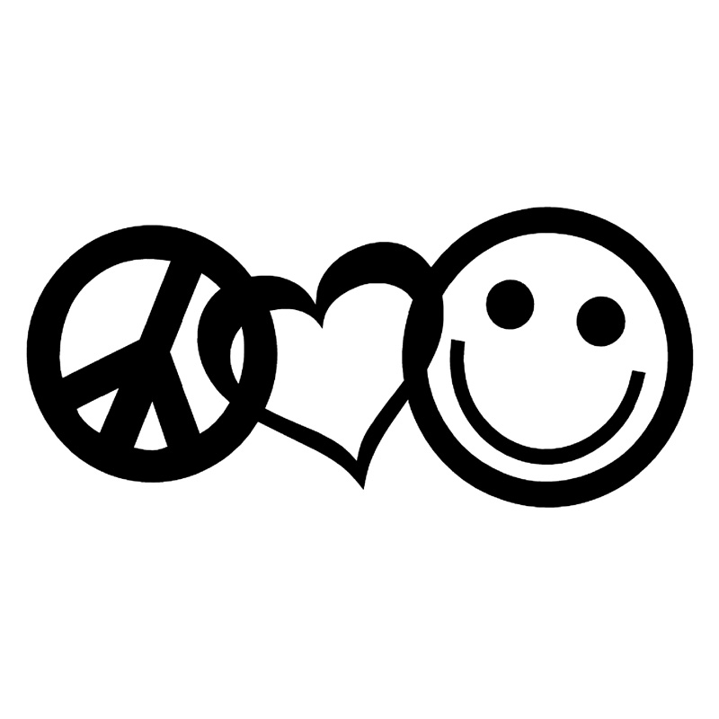198cm99cm Peace Love Happiness Fashion Car Sticker Vinyl Black