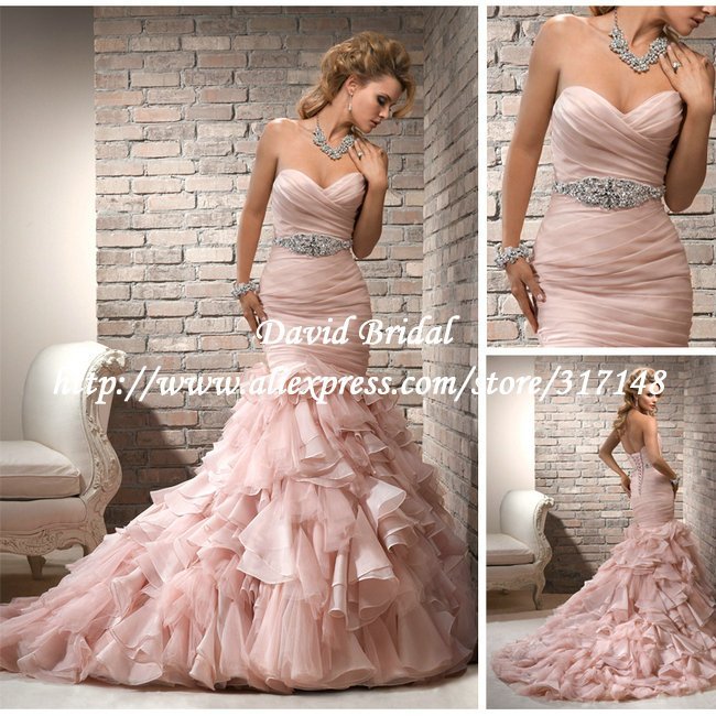 New Style Dv239 Beaded Sweetheart Ruffles Organza Pink Mermaid Wedding Dress 2017 In Dresses From Weddings Events On Aliexpress