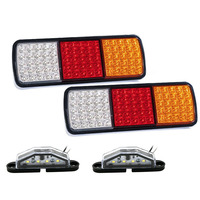 1Pair 75 LED Tail Lights Truck Boat Stop Indicator 12V 1Pair 4LEDs Rear License Number Plate