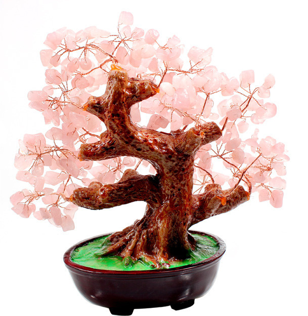 rose crystal money tree bonsai style for wealth luck home & wedding decoration