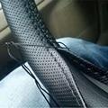 ЛУНДА 1 ШТ. Автомобильные Искусственная кожа Крышки Рулевого Колеса С Иглы и Нити Черный/Серый, Пригодный для Диаметра 38 см