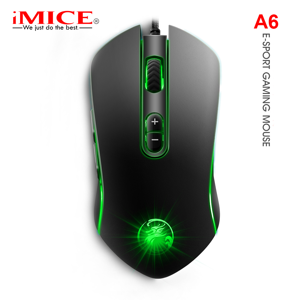iMice Gaming Mouse Silent Wired Computer Mouse 3200 DPI 7 Button Left Right Hand Ergonomic Magic Mause USB Optical Gamer Mice A6
