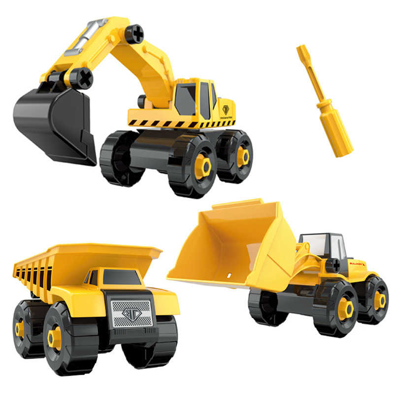 6 Styles Engineering Cars mini Diecast Plastic car Construction Vehicle Excavator Model toys for children with toy boys gift