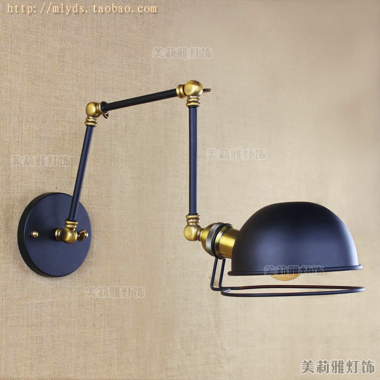 Vintage wall light glass wall lamp 110V 220V wall lamp for workroom bedroom Bathroom dinning living room swing arm wall lights vintage antique clear glass lampshade wall lights adjust long swing arm wall lamp e27 110v 220v wall sconce bedroom dining room