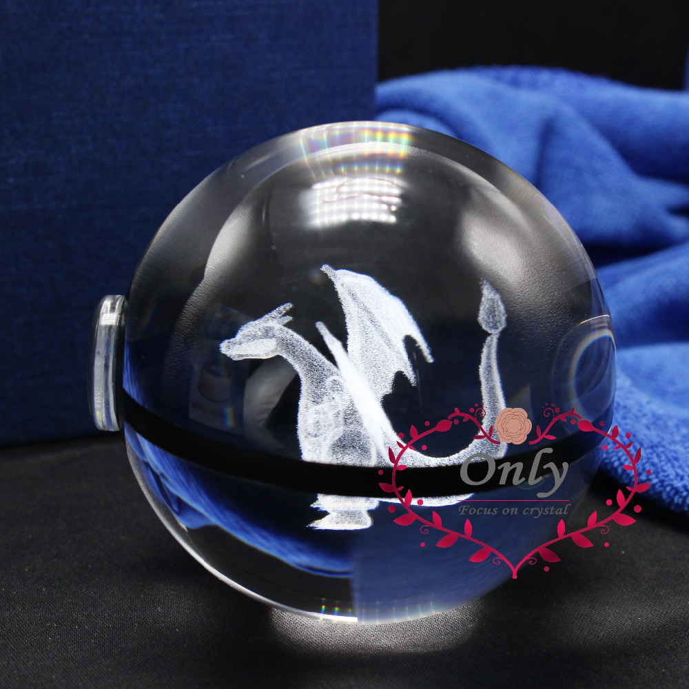 Popullar Pokemon Go Monster Charizard 3D Crystal Glass Ball Kid'd Decor спалня