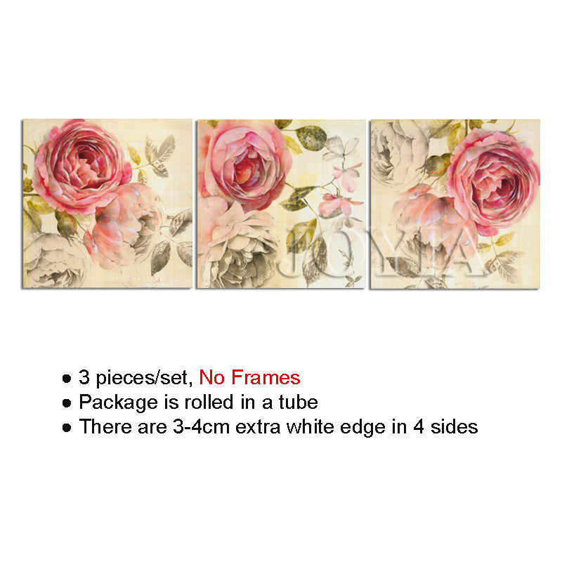 7b21dd43e89f8 Vintage Canvas Art Rose Painting Floral Printed Paintings Wall Pictures For  Living Room Bedroom Decor, No Frame, 3 Pieces/Set
