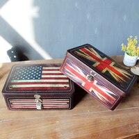 Amerykańska Flaga Brytyjska Blaszanych Pudełkach z Zamkiem tajne Prostokąt Cukierki Schowek Akcesoria 18*25*8.5 cm
