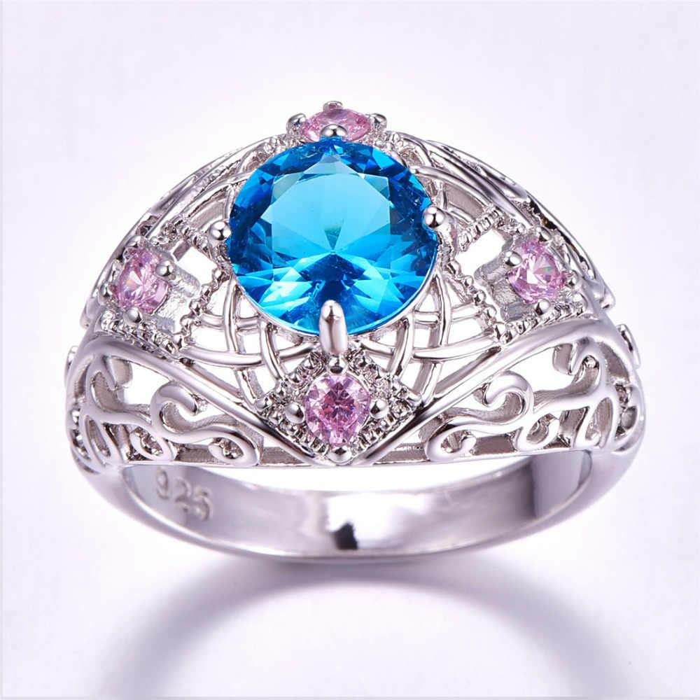 Lingmei แฟชั่น Birthstone งานแต่งงานเครื่องประดับรอบลึกลับ Multicolor & สีฟ้าสีม่วง Zircon แหวนเงิน 925 ขนาด 6 7 8 9